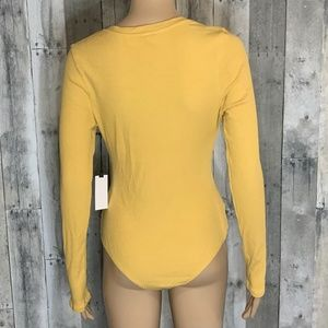 Astr Tops - Astr Knot Front Yellow Knit Ribbed Bodysuit NWT